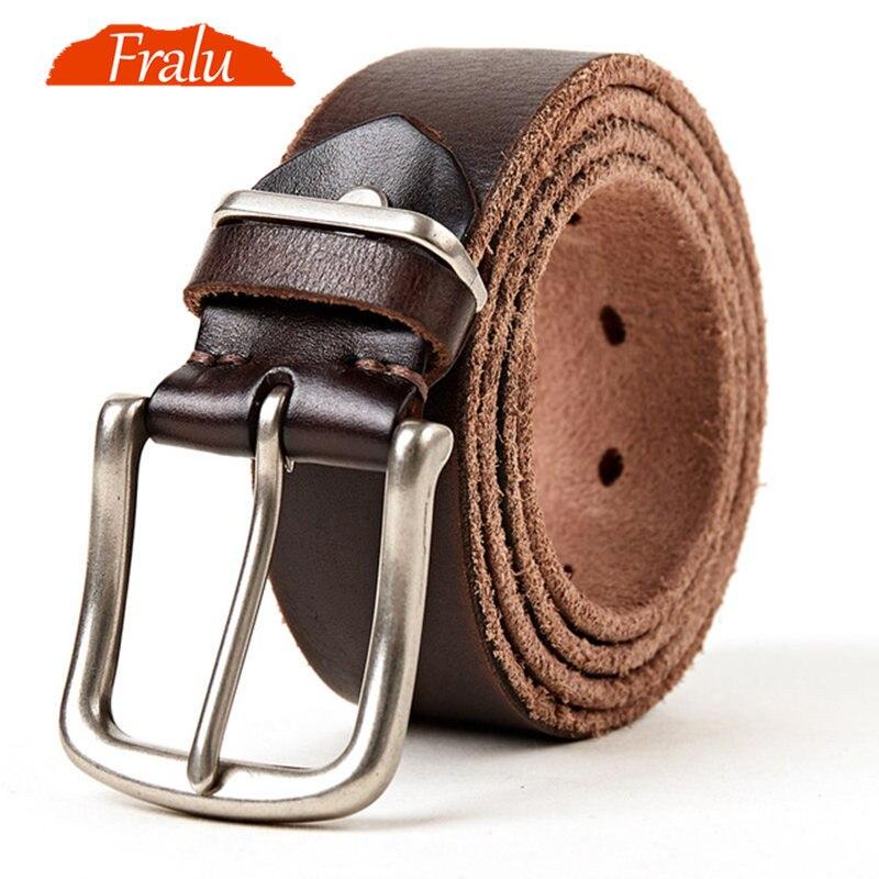 FRALU 2018 značkové pásy pánské vysoce kvalitní originální kožený opasek luxusní muž vojenský styl špendlíky přezky plus velikost