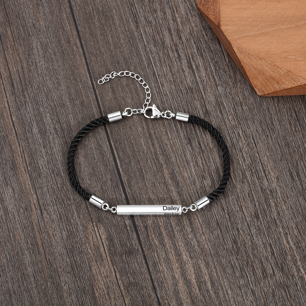 Customized Engraved 2 Names Bar Bracelets for Men Women Personalized Stainless Steel Adjustable Rope Bracelet Fashion Jewelry
