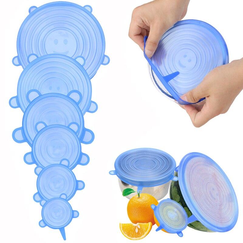 6 uds. Tapas elásticas de silicona que mantienen el sello fresco reutilizable tapa de la olla cubierta de la olla accesorios de cocina|Tapas de batería de cocina|   - AliExpress