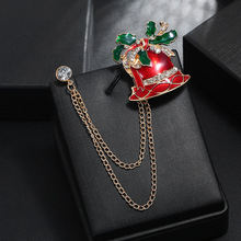 Hello Miss Christmas gift series new drip rhinestones Christmas bells double chain collar pin brooch fashion brooch jewelry rhinestones christmas hat brooch
