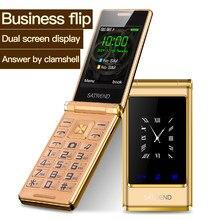 Odwróć ekran dotykowy podwójny ekran telefonu A15 Dual Sim tanie starszy telefon komórkowy starszy Clamshell