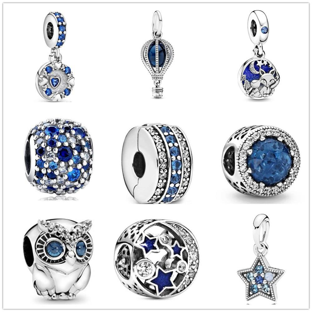 2020 New Original blue sweet night starry sky Bead fit Pandora charms silver 925 beads Bracelet for women diy fashion jewelry(China)