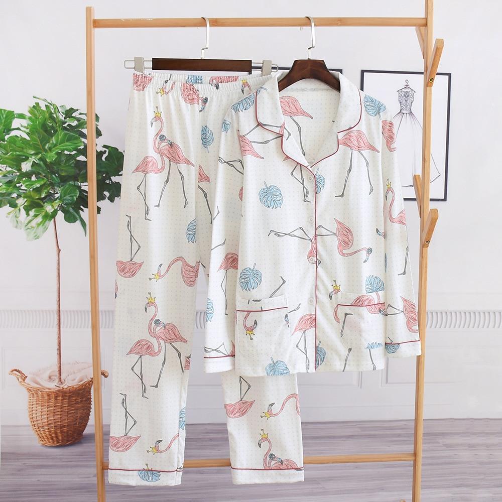 Daeyard 100% Cotton Flamingo Pajamas Set Spring Shirts And Pants 2Pcs Pyjamas Soft Sleepwear Women Nightie Casual Home Clothes