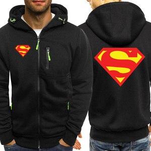 Image 2 - Superman Logo Mens Hoodies Autumn New Zipper Jacket Men Hot Sale Hooded Sweatshirt Casual Coat Sportswear Brand Male Tracksuit