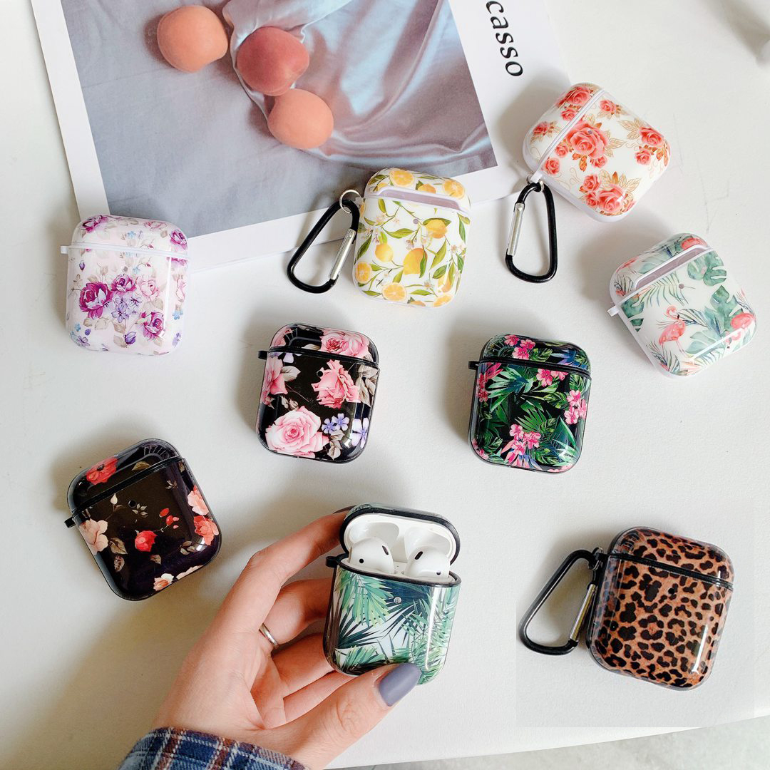 Luxury Leopard Print Silicon Earphone Case Funda For AirPods 1/2 Case Fashion Rose Flower Leaves/cute Cartoon Cover For Air Pods