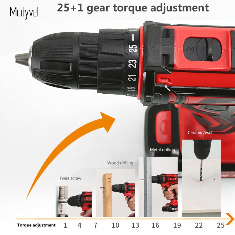 Image 5 - Cordless Drill Mini 12V 16.8V 36V Rechargeable Power Tools 2 speed Flexible Shaft Cordless Screwdriver Electric on