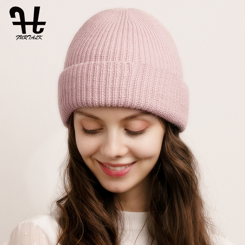 Winter Beanie Hat For Women Knitted Warm Double Layer Hats Female Winter Slouchy Beanie Skullies Korean Pink Red Black Cap