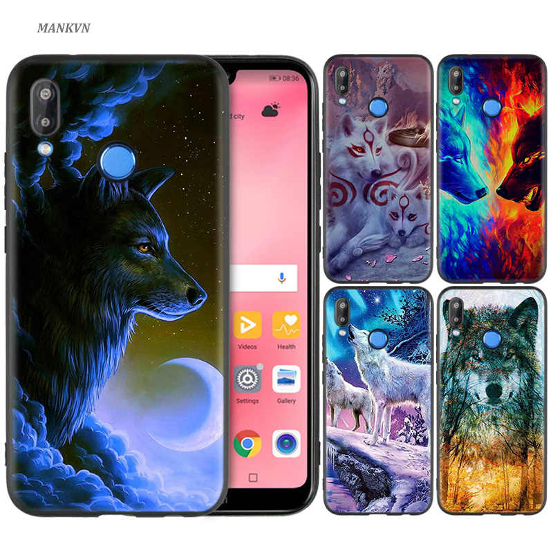 Black Silicone Case Bag Cover for Huawei P30 P20 P10 P9 Mate 10 20 30 Note 5 5i Lite Pro P Smart Z 2019 Shell Wolf dragon animal