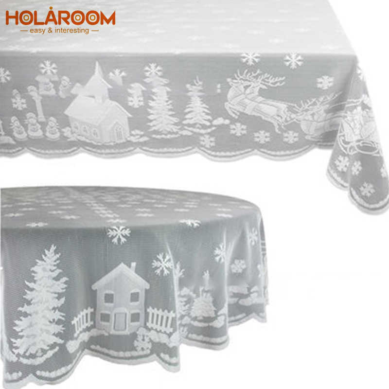Christmas Tablecloth Rectangle Table Cloth Cover Dinner Party Home Decor UK