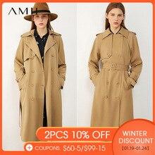 AMII Minimalism Autumn Winter Women's Windbreaker Fashion British Style Solid Lapel Belt Women's Trench Coat Women  12040443