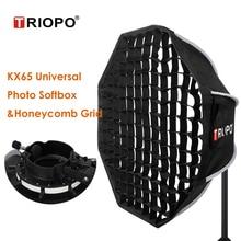 TRIOPO 65 ซม.กลางแจ้งแปดเหลี่ยม Softbox W Honeycomb Grid SPEEDLITE Photo กล่องนุ่มสำหรับ GODOX V1 AD200 Yongnuo 560
