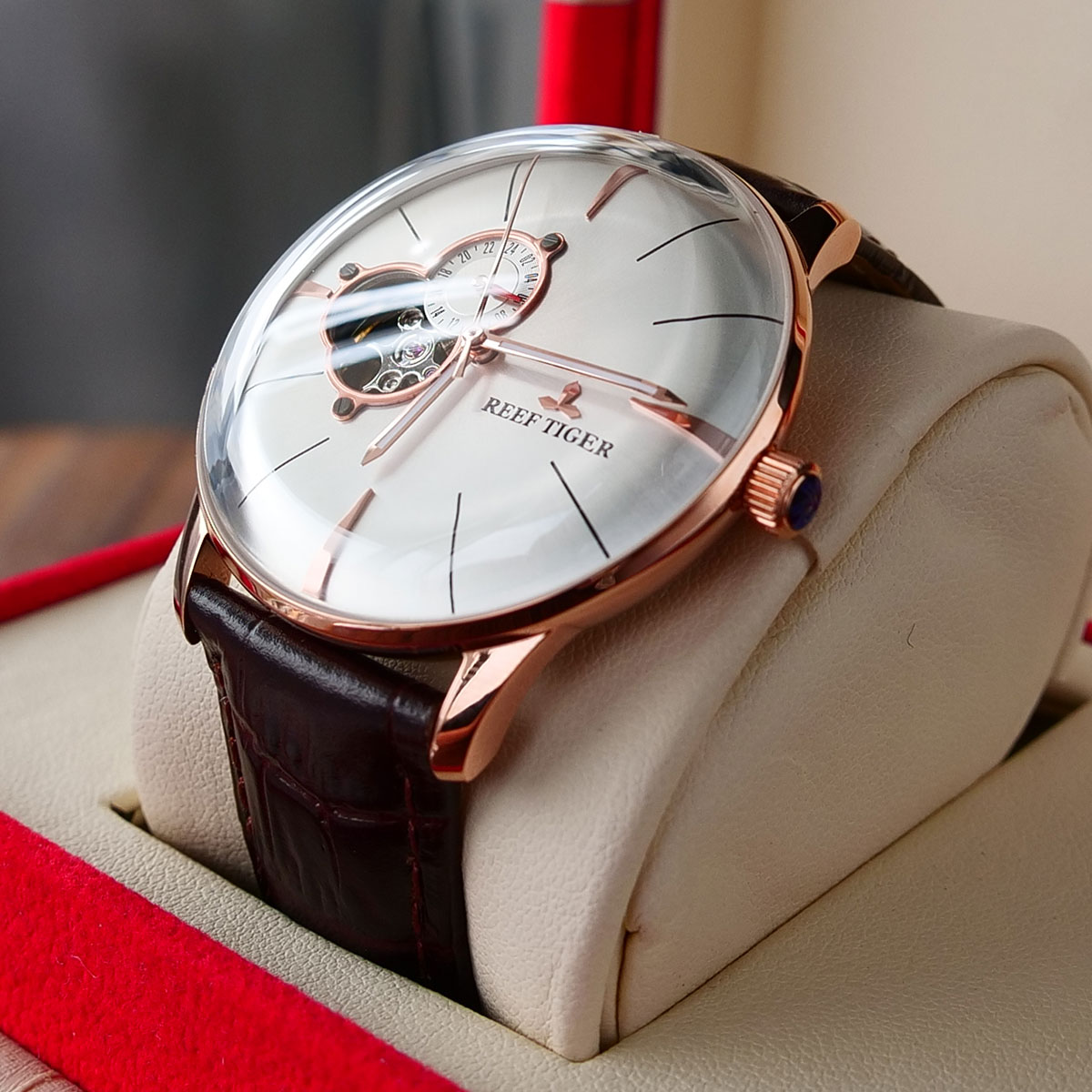 New Reef Tiger/RT Luxury Rose Gold Watch Men's Automatic Mechanical Watches Tourbillon Watches with Brown Leather Strap RGA8239|watch leather strap|watch menwatch men automatic - AliExpress
