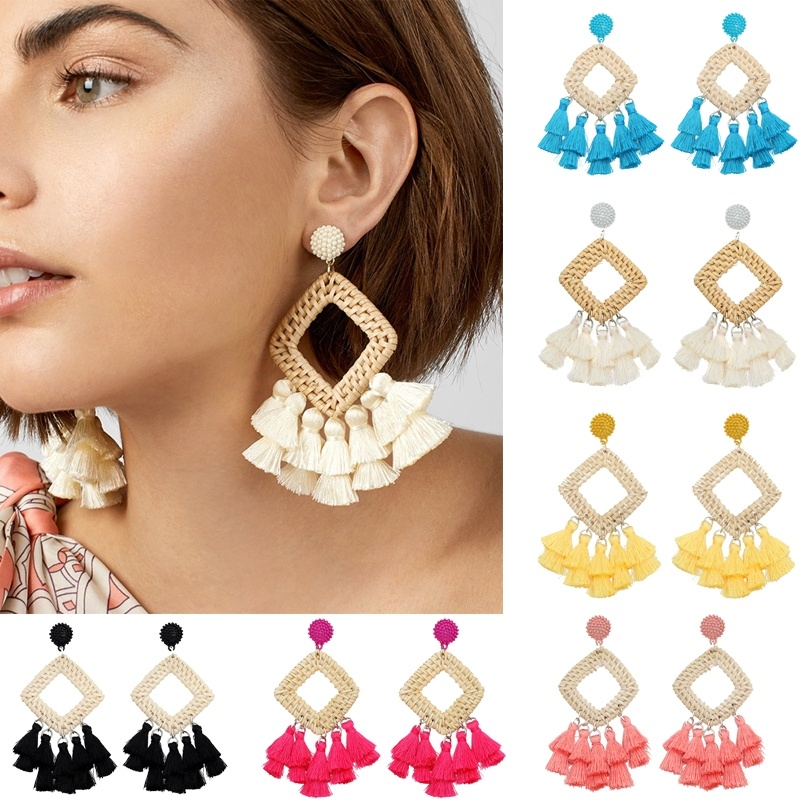 Handmade Grass Tassel Earrings Square Long Dangle Earring 2020 Kolczyki Beach Seaside Fashion Jewelry Accessories Aretes 2020