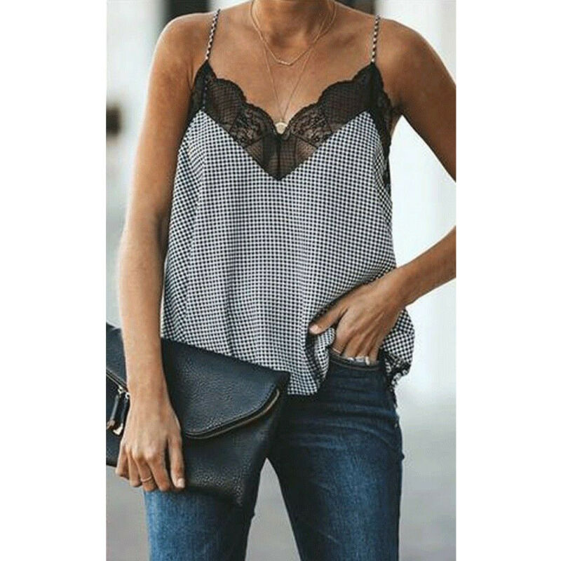Hot Sale Women Sexy Lace Top Camis Tank Top Camisole Ladies plus size Print V-Neck Sleeveless Summer Female Vest Tops