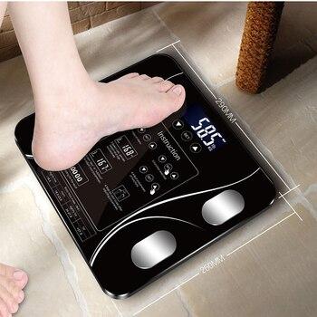 Escala de pesaje de hogar inteligente Sakura, holgada en inglés, Escala de grasa pequeña, pantalla Digital con funciones en inglés, USB