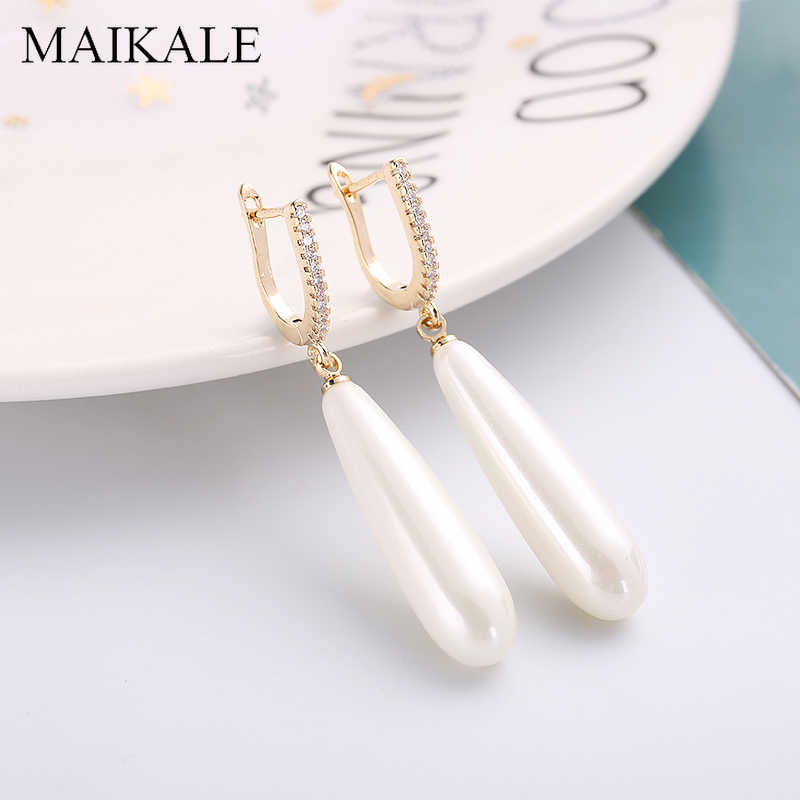 MAIKALE Simple Long Pearl Earrings Gold Silver Color Zirconia Earrings with Pearl Drop Earrings for Women Fashion Jewelry Gifts