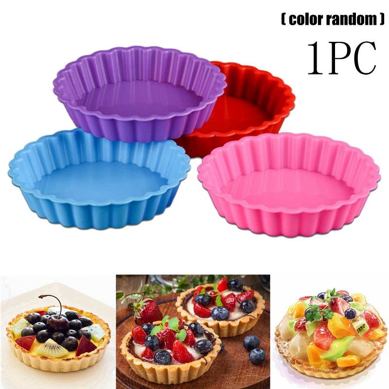 1PC Eco-friendly Silicone Cake Mold Fruit Pie Egg Tarts Mold <font><b>Baking</b></font> Tray <font><b>Round</b></font> Fondant Cake Mold Pie Bakeware <font><b>Pan</b></font> <font><b>Baking</b></font> Tools image