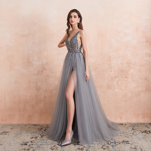 Sexy V-Neck Long Prom Dresses 2020 Beaded Beading Crystal High Splits Backless A-Line Formal Gown Party Dress 3
