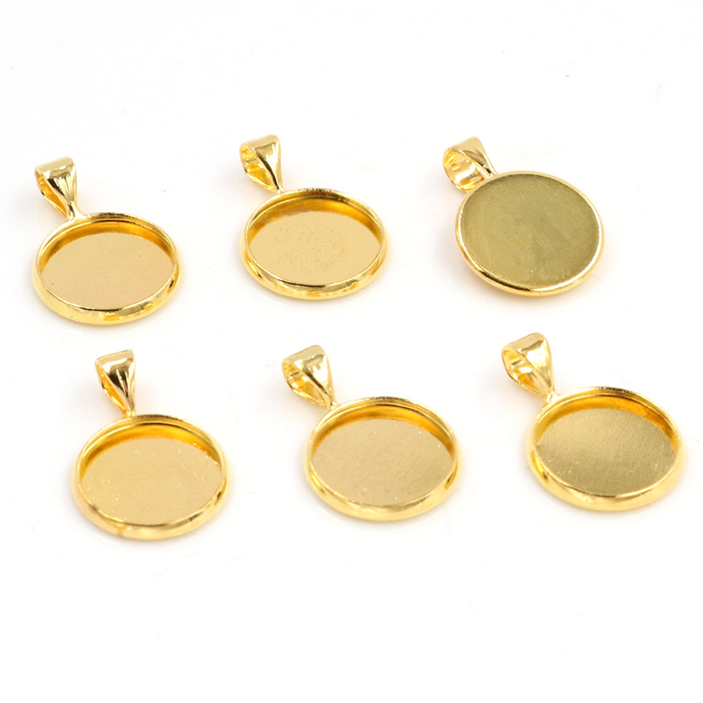 20pcs 12mm Inner Size Gold Color Plated Brass Material Simple Style Cabochon Base Cameo Setting Charms Pendant Tray (A1-25)