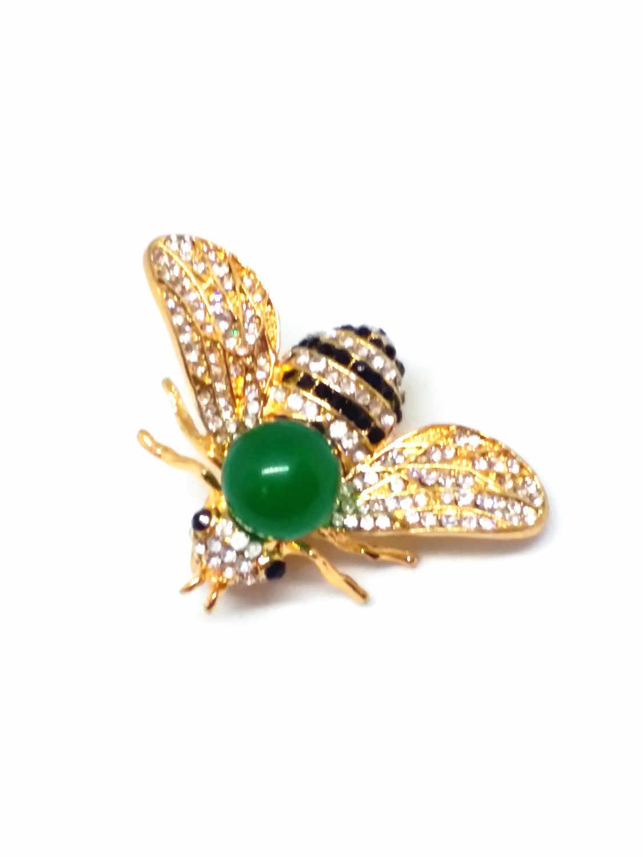 Letsfun Halus Baja Titanium Perhiasan Bertatahkan Hijau Amber Lebah Mulia Bros Hadiah Gratis Pengiriman