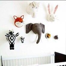 Bébé pépinière chambre décor 3D noël animaux têtes tenture murale décoration pour enfants chambre fille chambre doux installer décoration