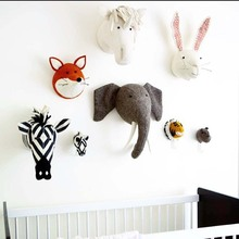 Baby Nursery Room Decor 3D Christmas Animal Heads Wall Hanging Decoration For Children Room Girl Bedroom Soft Install Decoration