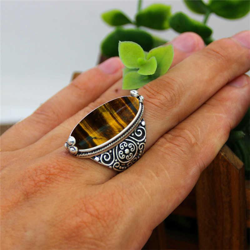 סדיר טבעי טייגר עיניים טבעות פרח להקת אבן טבעת עבור נשים עתיק כסף מצופה תכשיטים TR665