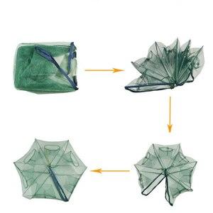 Image 2 - Automático dobrado rede de pesca 6 16 furos armadilha para furos de peixe fundido dobrável reforçado rede de pesca de lagostins