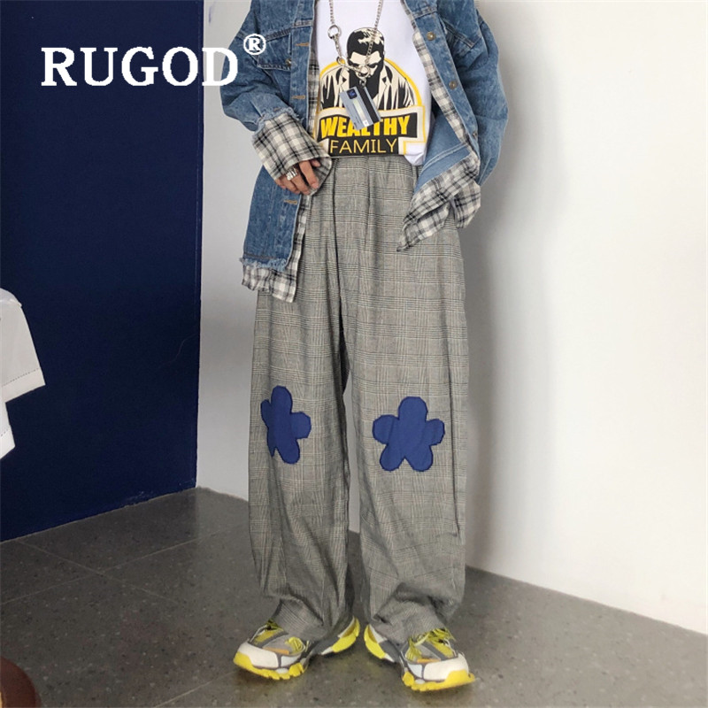 RUGOD Vintage Harajuku Plaid Pant Women  Embroidered Flowers Loose Pants Casual Cotton Pants Casual Lady Cotton Trousers 2019