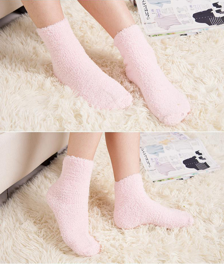Winter Warm Women Girl Candy Solid Color Thicken Coral Fleece Fluffy Ankl Hot