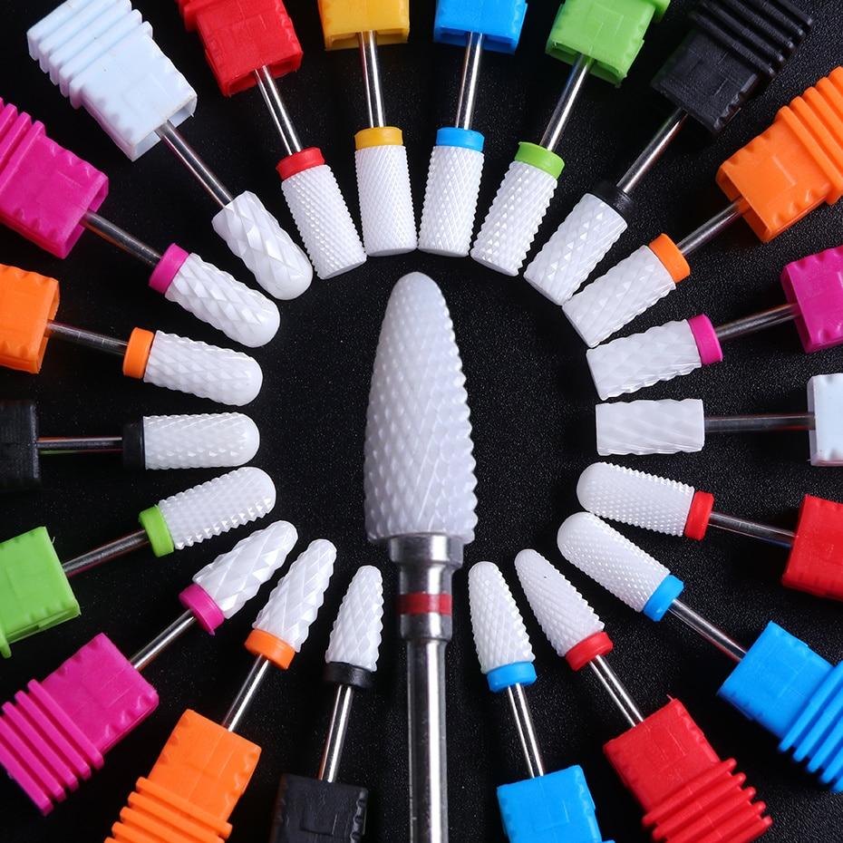 Фрезы для маникюра керамические сверла Гель-лак средство для удаления кутикулы мельница для ногтей шлифовальная крышка аксессуары для пед...