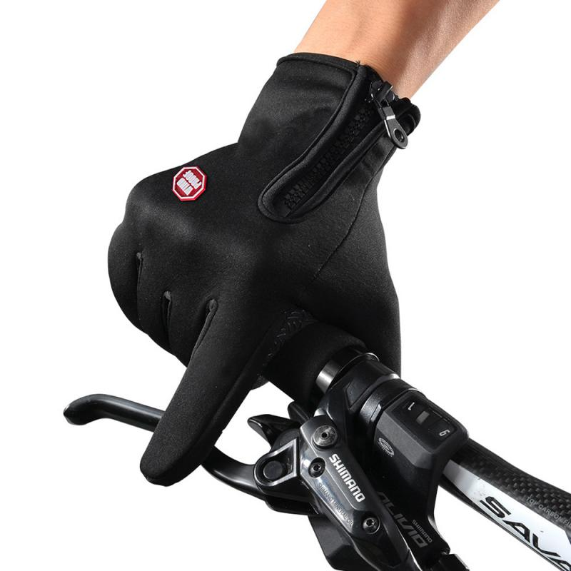 1 Pair Windproof Cycling Gloves Outdoor Climbing Bicycle Riding Warm  Anti-slip Gloves Touch Screen Full Finger Gloves