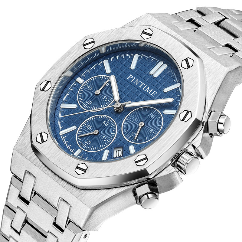 PINTIME Blue Quartz Watch Men Fashion Business Waterproof All Steel Clock Male Big Date Luxury Chronograph Watches Relogio Luxo