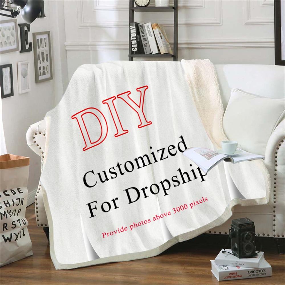 Custom Wolf Printed Throw Fleece Blanket Bedspread for Kids Girls Sofa Sherpa Blanket Couch Quilt DIY Design-0