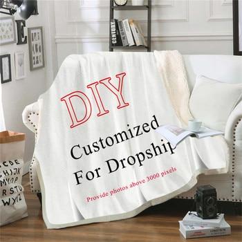 Custom Wolf Printed Throw Fleece Blanket Bedspread for Kids Girls Sofa Sherpa Blanket Couch Quilt DIY Design