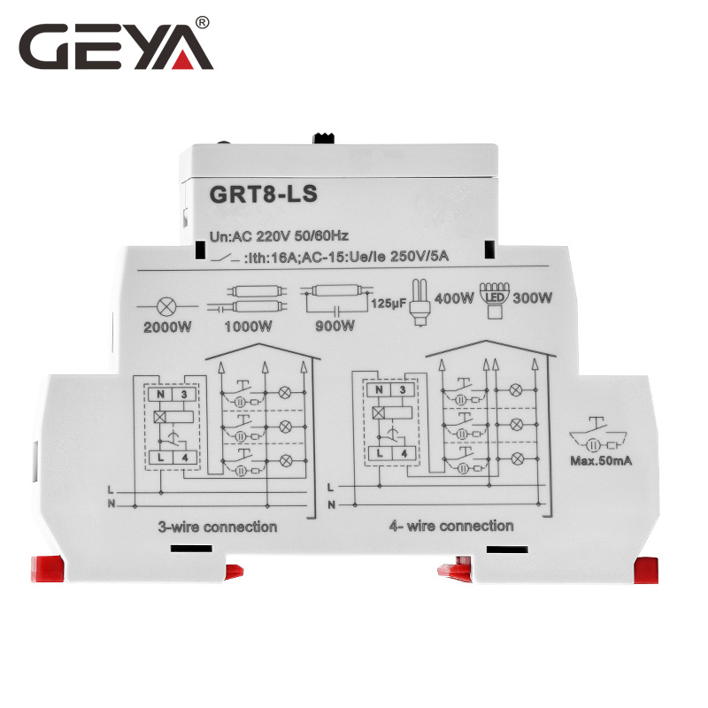 Image 4 - Free Shipping GEYA GRT8 LS Din rail Staircase Switch Lighting Timer Switch 230VAC 16A 0.5 20mins Delay off Relay Light SwitchTimers   -