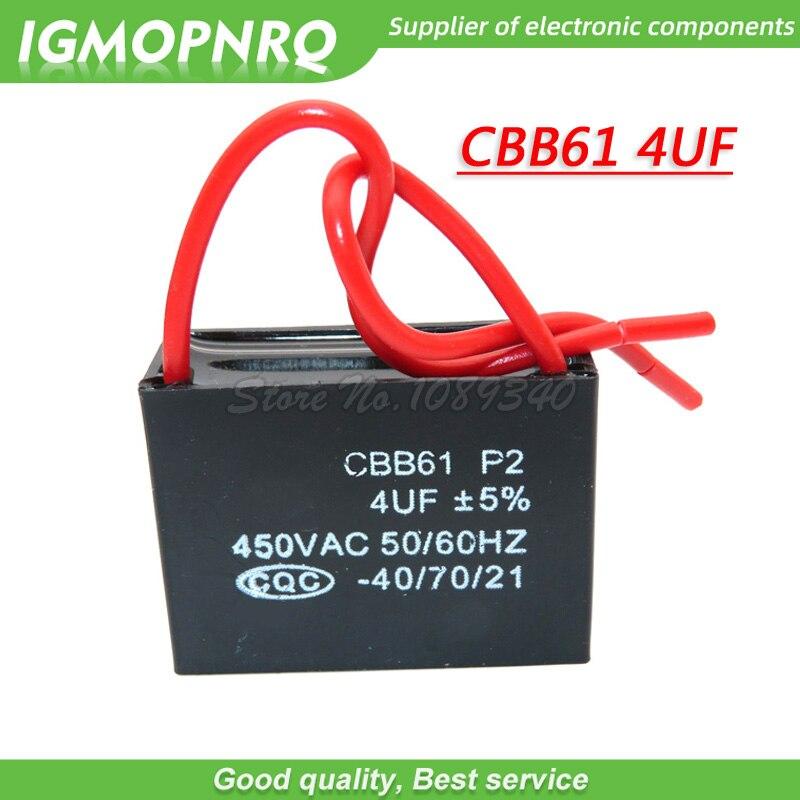 5 pièces CBB61 4uf capacité de démarrage condensateur de ventilateur ca igmopnrq 450V 4uf CBB condensateur de fonctionnement du moteur