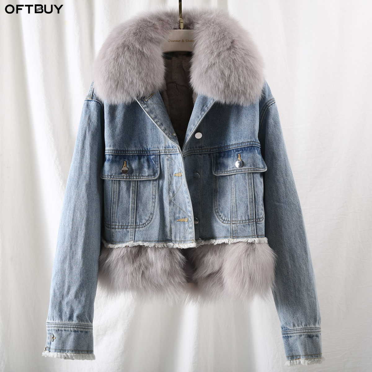 OFTBUY 2019 Winter Jacket Women Casual Real Rabbit Fur Liner Denim Coat Thick Warm Natural Fox Fur Collar Outwear Streetwear New