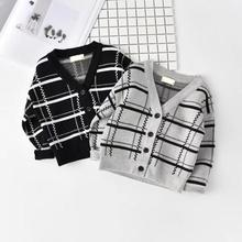 baby boy clothes tiny cottons 2019 sweater children's boys winter sweater v-neck Plaid pattern single breasted boys winter top недорого