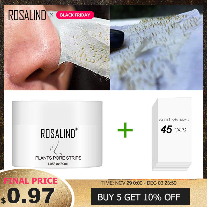 ROSALIND Face Masks Strips For Nose Facial From Black Dots Remove Deep Clean Blackhead Peeling For Acne Pore Narrowing Skin Care