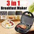 3в1 электрическая вафельница, сэндвич/вафельница/Panini/барбекю/Пицца/блинница, антипригарная печь для гонконгских вафель