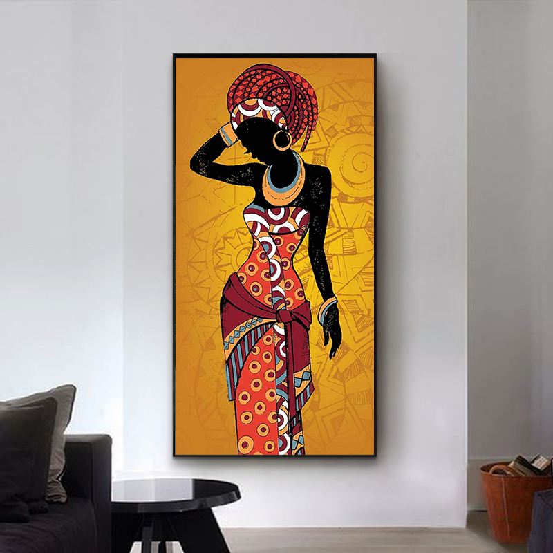 Woman Black and Gold Colour Printed on Canvas
