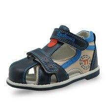 Sandales en cuir pu pour enfants, chaussures, qualité supérieure, respirantes, plates pour garçons, support darc, été, 2019