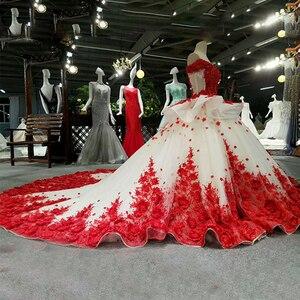 Image 3 - LSS037 Đỏ 3D hoa cao cấp áo nhanh chóng vận chuyển từ Trung Quốc ngoài khơi vai cổ chữ V phối ren lưng bầu buổi tối đầm