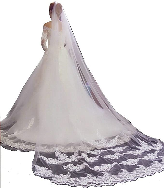One Layer Cathedral Long Lace Wedding Veil With Comb Bridal Accessories 2020 White Ivory Bride voile mariage