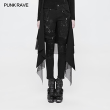 PUNK RAVE Women Punk Personality Dilapidated Trousers Pencil Pants Casual Hip Hop Streetwear Mid Waist Jeans for