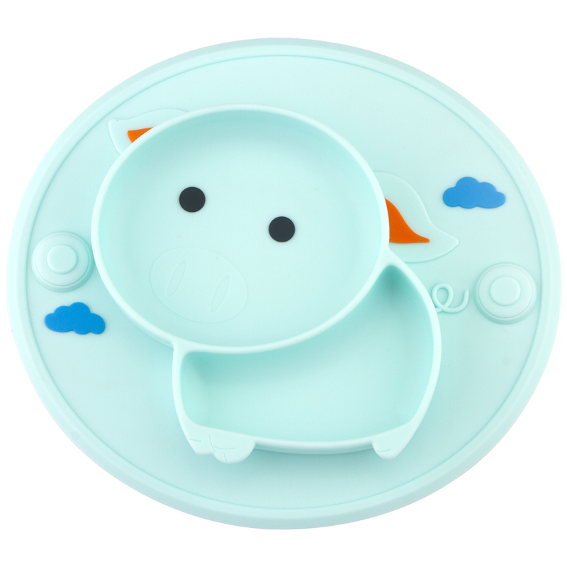 Qshare Baby Placemat Cute Pig Silicone Suction Plate Children Feeding Plate Baby Food Feeding Bowl Baby Dishes Pratos