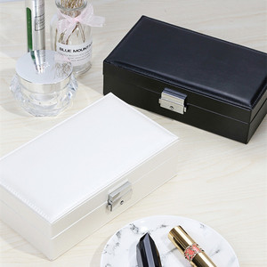 Image 4 - Jewelry Box Wedding Gift Jewelry Case Vanity Box Wooden Structure Covered with High Quality Leather Upscale Pure Color Fashion