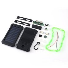 DIY Solar Power Bank Case 2 USB Ports External Charger Powerbank Case for Emergency Outdoor Camping Travel with Compass dropship