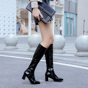 Image 2 - ORCHA LISA  Pattent leather knee high boots for women 6cm block heels red white  black lady winter leather shoes botte femme 45